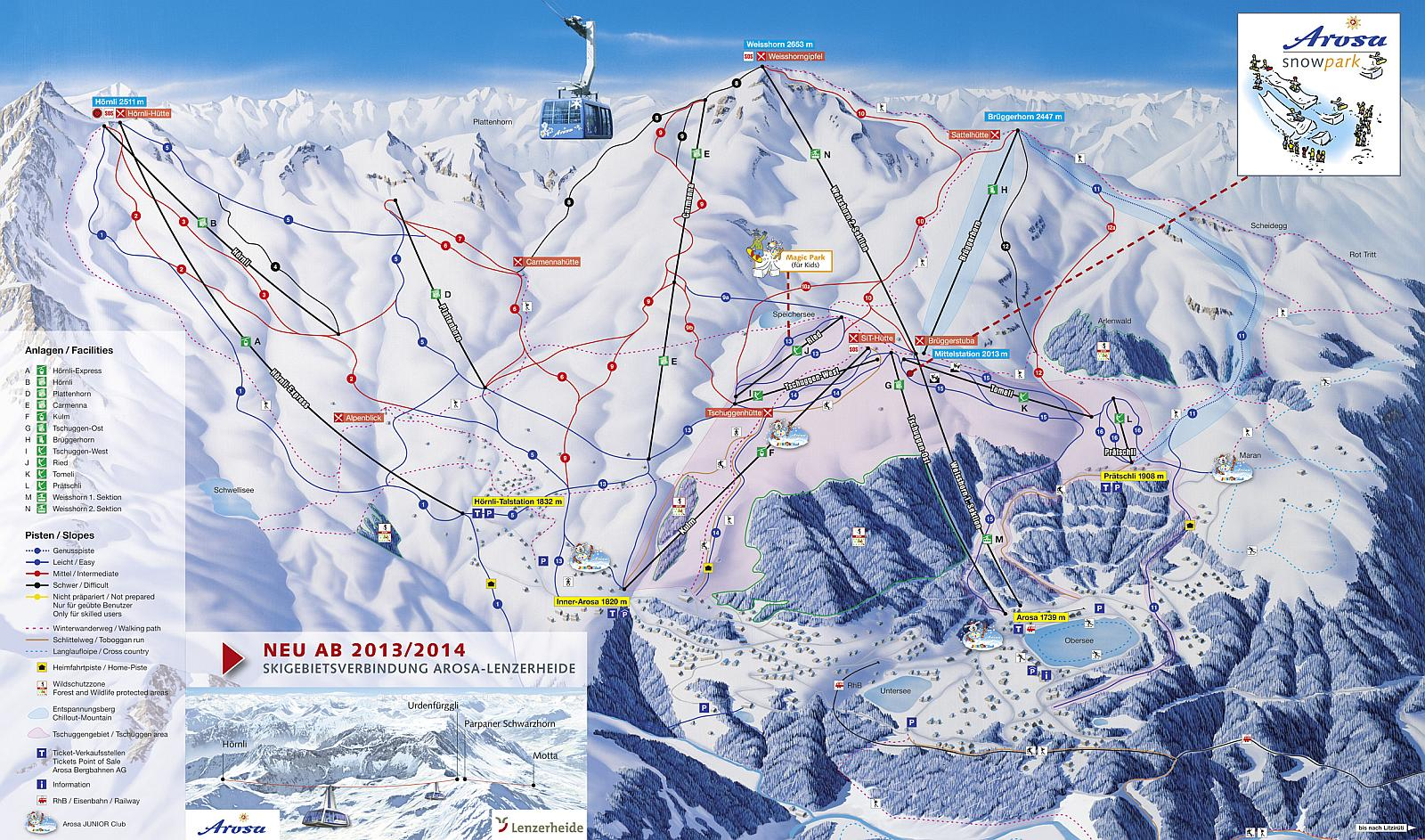 Arosa Ski Map skiflickscom